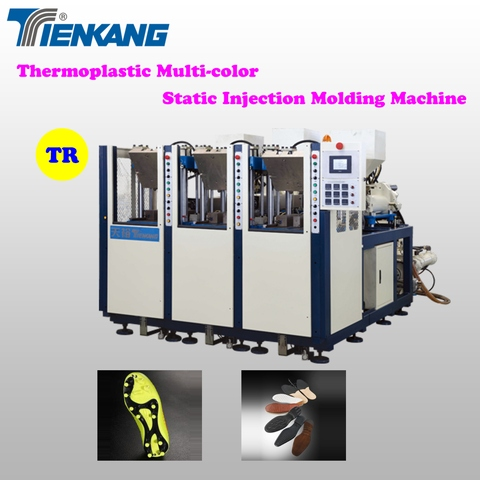 Thermoplastic multi-color static injection molding machine