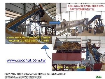 PALM FIBER SEPARATING, DRYING, BALING MACHINE