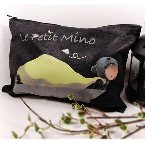 Faux Suede Black Handmade Zipper Bag Mino Pull A Bag