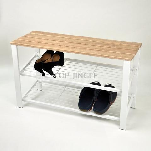 Astounding Wooden Double Stool With Mesh Wire Shoes Rack On The Bottom Short Links Chair Design For Home Short Linksinfo