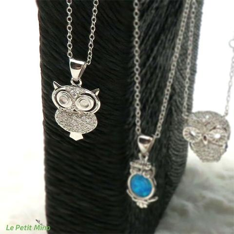 925 Silver Necklaces Owl Pendant Platinum-Clad