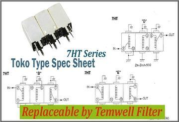 Helical Bandpass Filter - Toko type 7HT 302MXPHNHA Filter