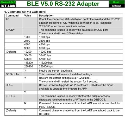 RS232 Bluetooth BLE V5.0 adapter AT command-1