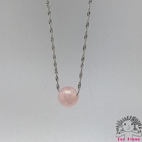 925 Silver Morganite Pink Bead Pendant Necklace