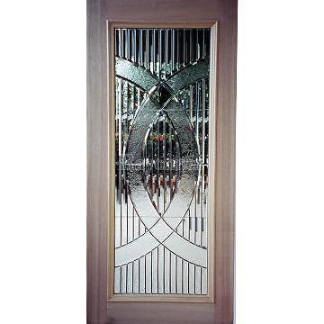 French Door, Entrance, Entry Door, Leaded, Glass, Beveled, Decorative Door,  Transom, Sidelight, Wooden Door, Stained Glass, Panel, Rectangular (No 1111)