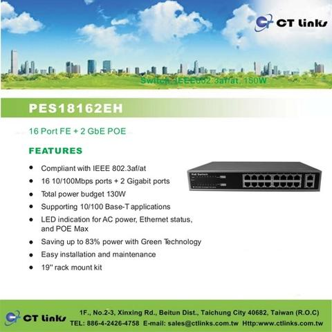 Taiwan 16 Port FE + 2 GbE POE Switch, IEEE802 3af/at | Taiwantrade