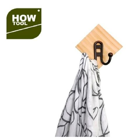 Wooden Wall Clothing Hook With Double Hooks