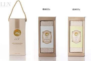 you can choose white rice(green package) or brown/unpolished rice(blue package)