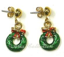 Christmas Wreath Earring  Enamel Earring Xmas Jewelry