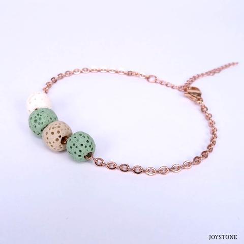 Quadruple-Bead 3 Color Green Aroma Rock Diffuser Bracelet