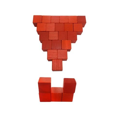 2.54 cm Red Wood Cube
