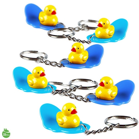 Yellow Duck on Surfing Board Key Chain