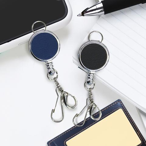 Retractable Badge Reel With J-Hook -PU Leather