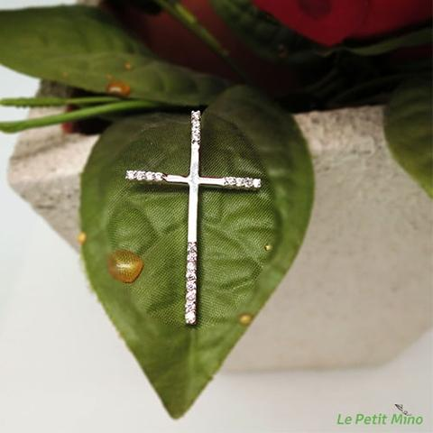 Sterling Silver Cross Necklace Four sided Round Zircon 2