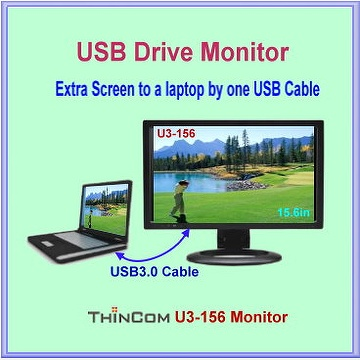 USB 3.0 LED Mobile Monitor. Superspeed USB3.0 Connection for Secondary Screen