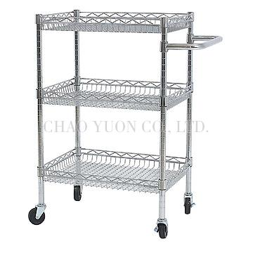 Chrome Wire Basket Adjustable Basket Height Trolley Mobile Cart
