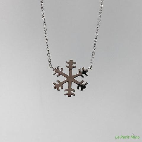 925 Silver Snowflake Pendant Necklace Platinum-Clad