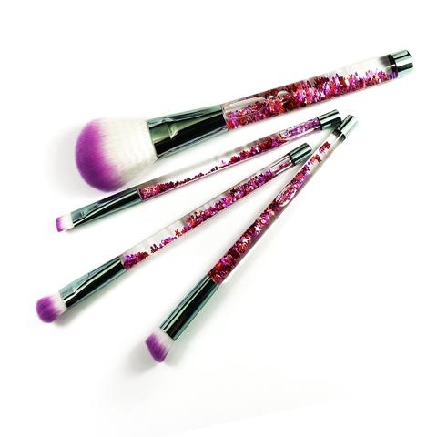 glitter handle synthetic hair cosmetic makeup brush set
