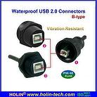 Waterproof USB B type 2.0 Connectors , Panel Mount Receptacle & Overmolded Cable Assembly