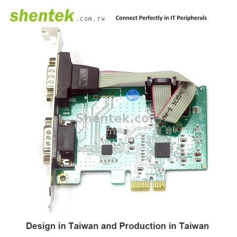 Shentek 2 Port RS485 RS232 RS422 Serial PCIe Card Industrial