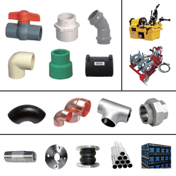Pipes, Fittings, Threading & Welding Machines, Carbon Steel Fittings, Nipples, Flanges, Steel Pipes, Rubber Joints, Stainless Steel, Copper, PVC, CPVC, PPR, PE, Valves, Pipes, Fittings