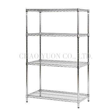 Steel Wire Rack | Taiwan New Chrome 4 Layer Shelf Adjustable Steel Wire Metal Shelving