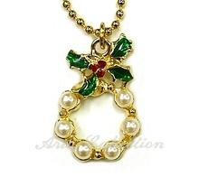 Christmas Wreath Pendant with Chain
