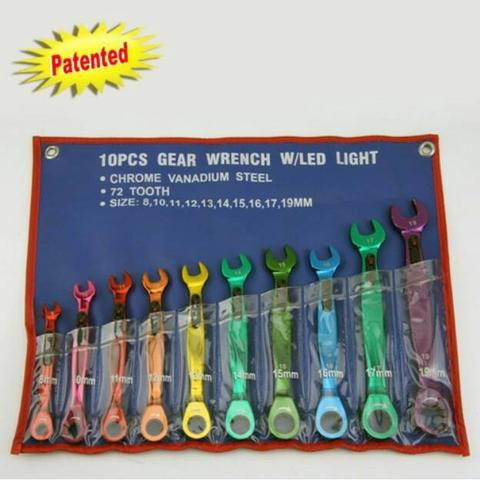 LED LIGHTING RATCHET WRENCH SET 10 PCS