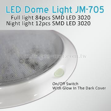 RV 8u201d LED Round Dome Light Cabin Light With On/Off Switch Surface Mount  Boat Auto