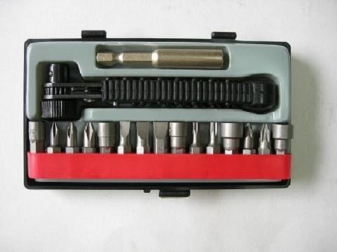 Modern Mini Hand Ratchet. Wrench, Nut Setter & Bit Set