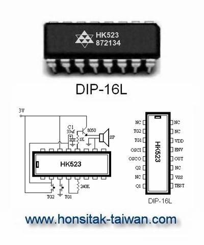 Doorbell IC HK523, DIP-16L