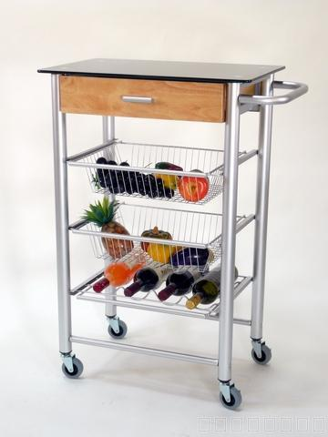 Taiwan 4 Tier Glass Serving Cart With Wine Rack And Drawer
