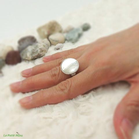 Ladies 925 Sterling Silver Mother of Pearl Ring 4