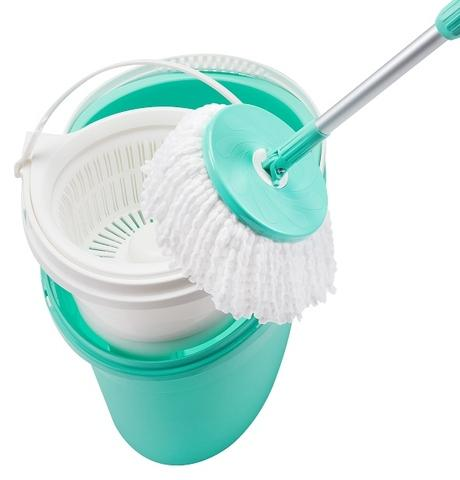 Trendy hand press system with twin bucket spin mop set