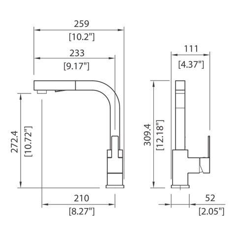 Single control kitchen pull-out faucet