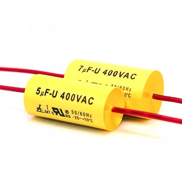 Motor Run Capacitor with Axial Lead, Round Execution and Tape Wrapped