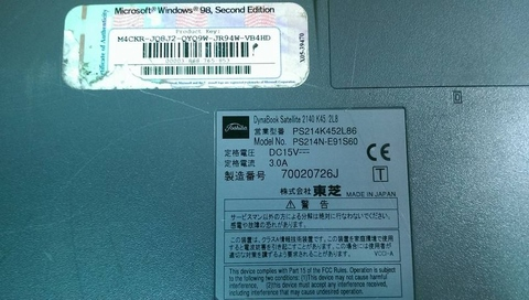 TOSHIBA PS214N-E91S60 70020726J DynaBook Satellite