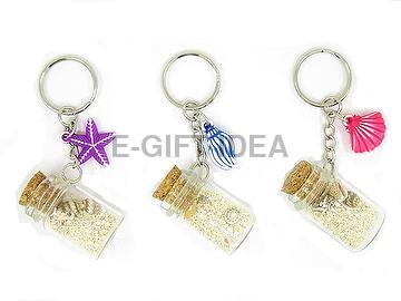 Seashell Bottle Key Chain(with washed charm)