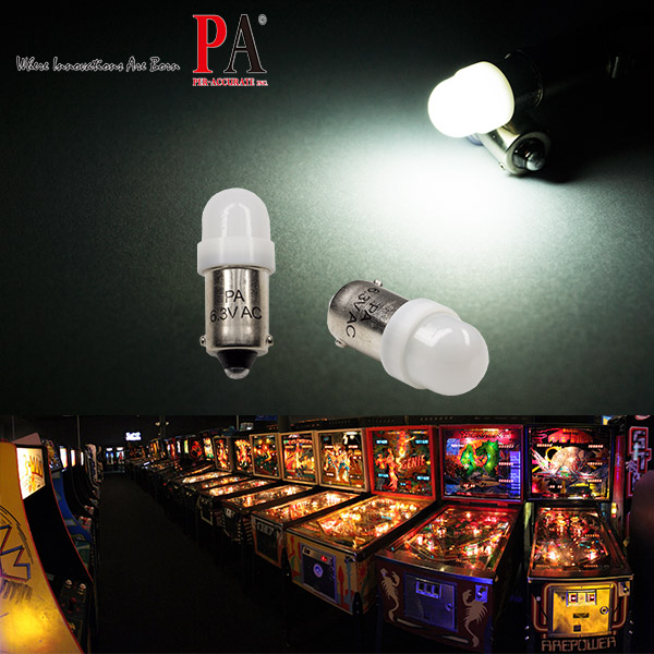 PA Pinball LED Light 2 SMD 2835 Ba9s #44 T4W 1445 wedge 6.3v Pinball Bulb