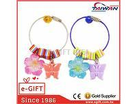 Butterfly Hibiscus Striped Beads Wire Key Ring