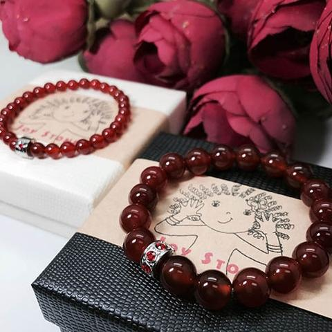 Red Agate Lovers 6mm+10mm Bead Bracelets