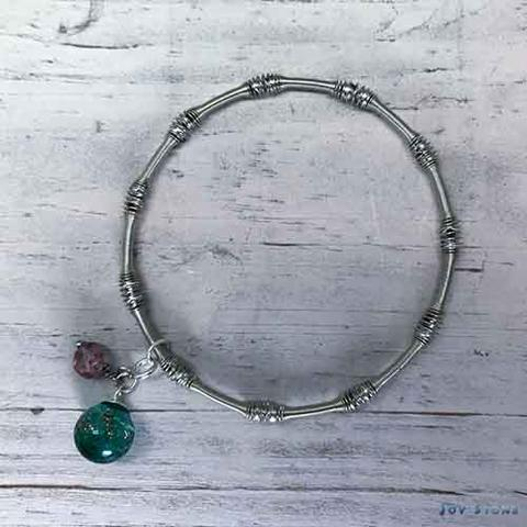 Silver Beads Chain Diffuser Bracelet - Green Firefly Bead