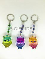 Glossy Rainbow Two-color Beads Key Chain (with a owl)