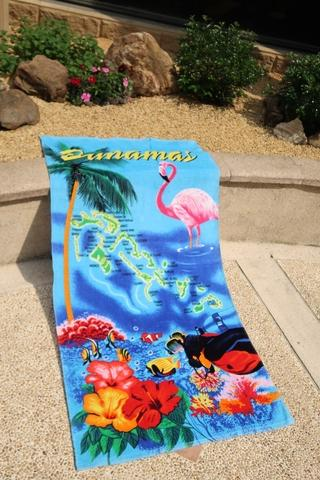 Rain forest design beach towel with colorful print