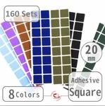 "20mm(3/4"") Self-Adhesive Square (160 Sets)"