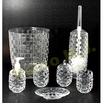 acrylic basketweave bathroom accessories including trashcan lotion