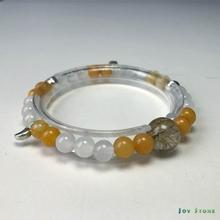 Wealth Bracelet with Rutilated Quartz Topaz White Agate