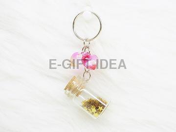 Gold Star Sequin Bottle Key Chain(with 2pcs hearts)