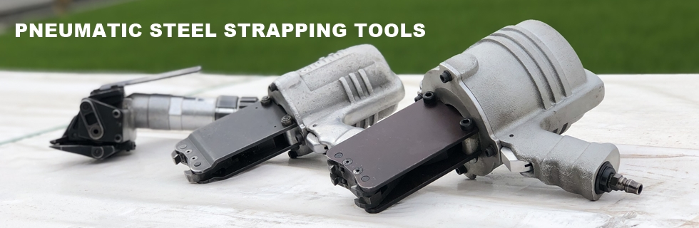 Pneumatic steel strapping tools