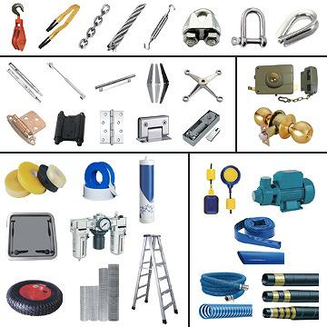 Pulley Blocks, Slings, Chains, Wire Ropes, Rigging Fittings, Hinges, Slides, Gas Springs, Handles, Spider Fittings, Floor Springs, Pumps, Hoses, Floating Switches, Locks, Tyres, Teflons, Ladders, Tape